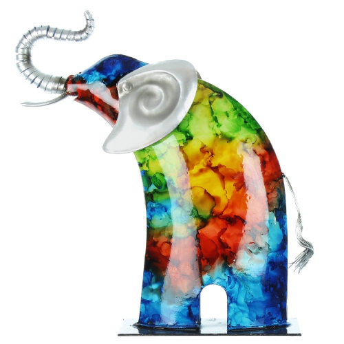 Hand Painted Colourful Metal Elephant Garden Ornament Figurine